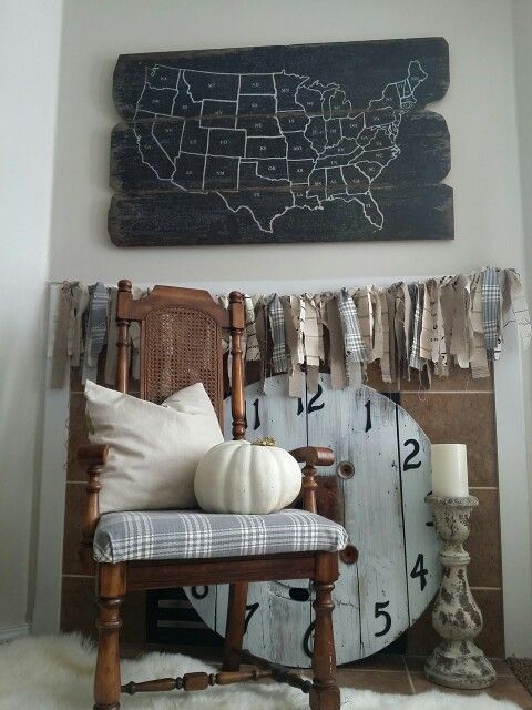 Torn fabric garland spool clock and map from world market coffee torn fabric garland spool clock and map from world market coffee paint repeat gumiabroncs Images