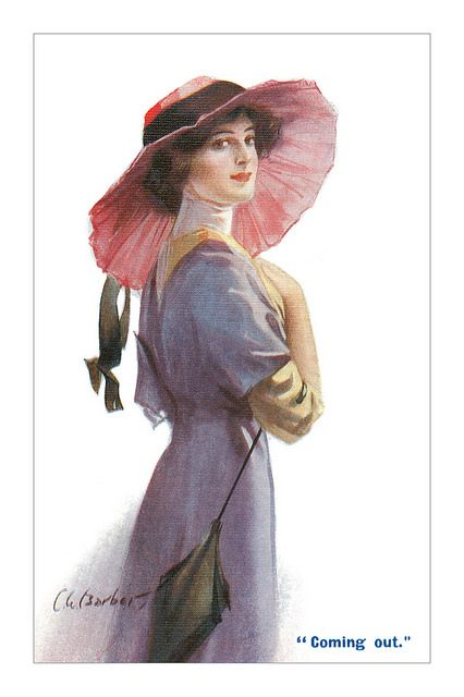 A beautiful c. 1910s fashion postcard with art by C.W. Barber. #vintage #1910s #Edwardian #fashion