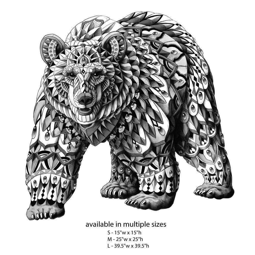 Bear Wall Sticker Decal Ornate Animal Art By Bioworkz