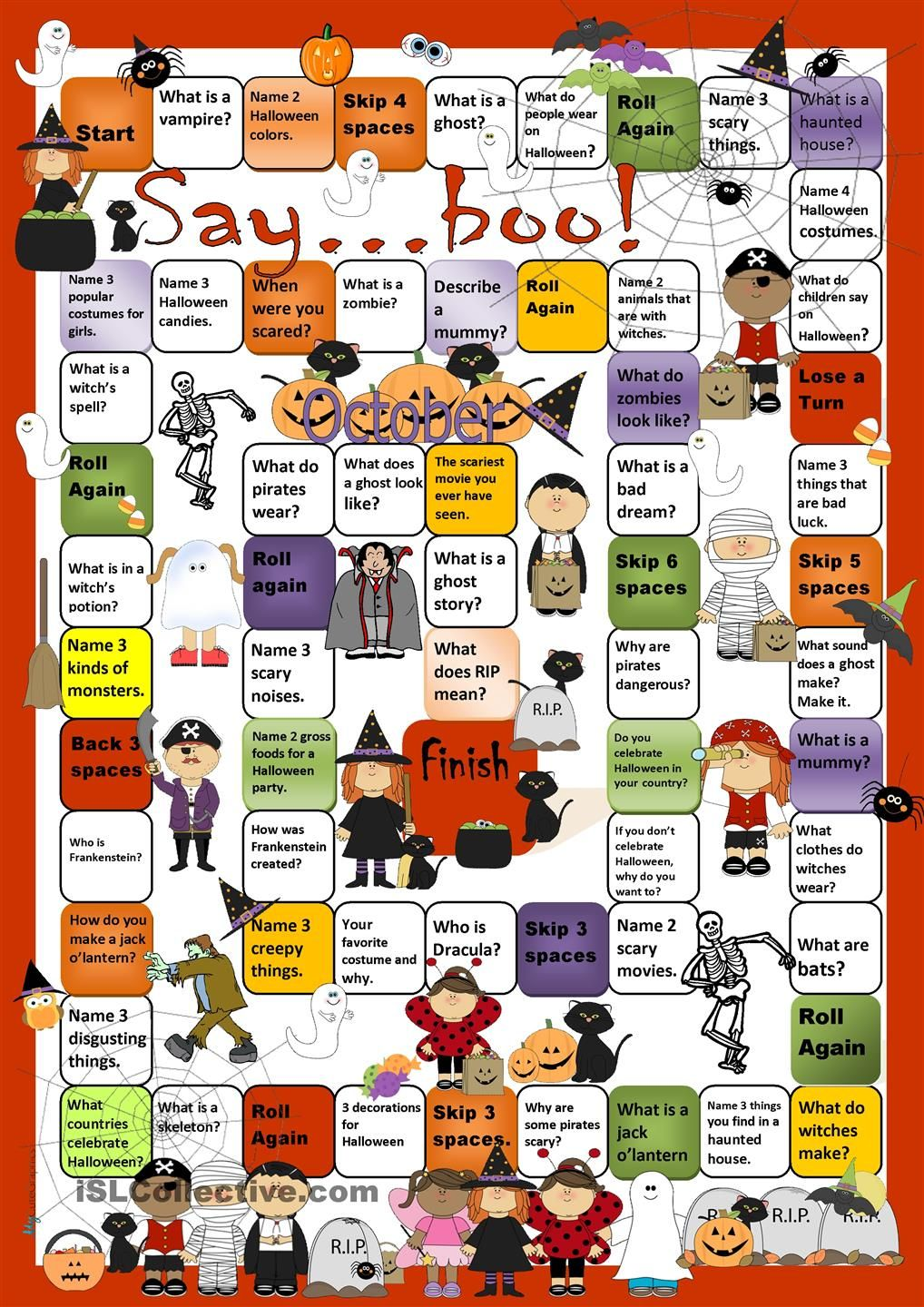 Halloween Board Game worksheet Free ESL printable