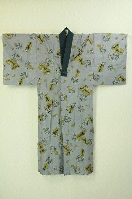 Gray nagajuban, koban and japanese old coin pattern / グレー地 小判と古銭柄 化繊長襦袢   #Kimono #Japan http://global.rakuten.com/en/store/aiyama/