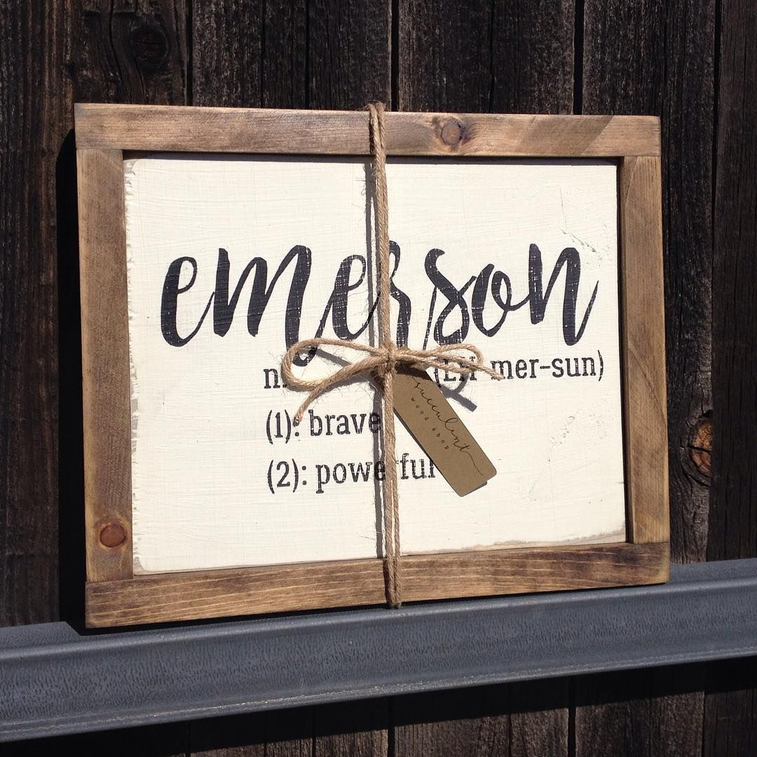 Personalized Baby Name Definition Wood Sign By Succulent