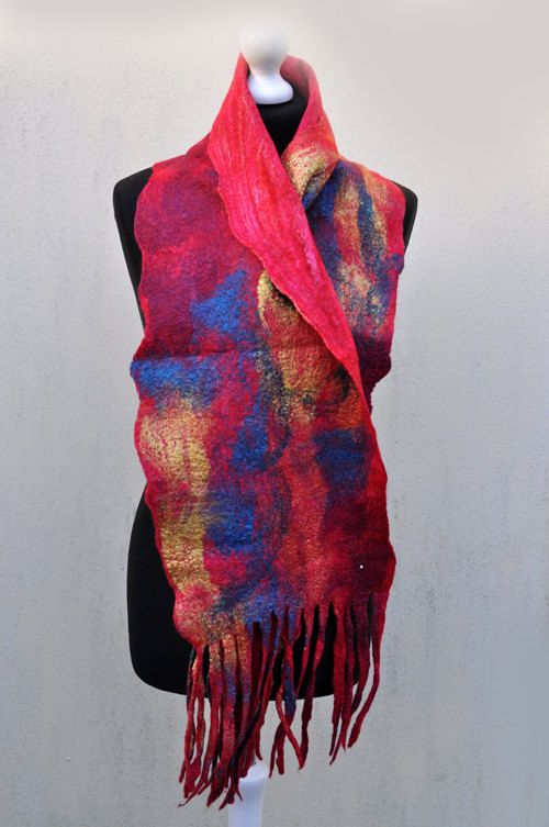 Felted scarf , silk, wool, nuno felt, felt, felted, gift, fibre art, orange, pink, yellow, blue. $42,00, via Etsy.
