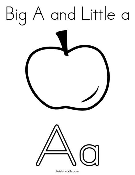 Big A And Little A Coloring Page Apple Coloring Pages Letter A Coloring Pages Alphabet Coloring Pages