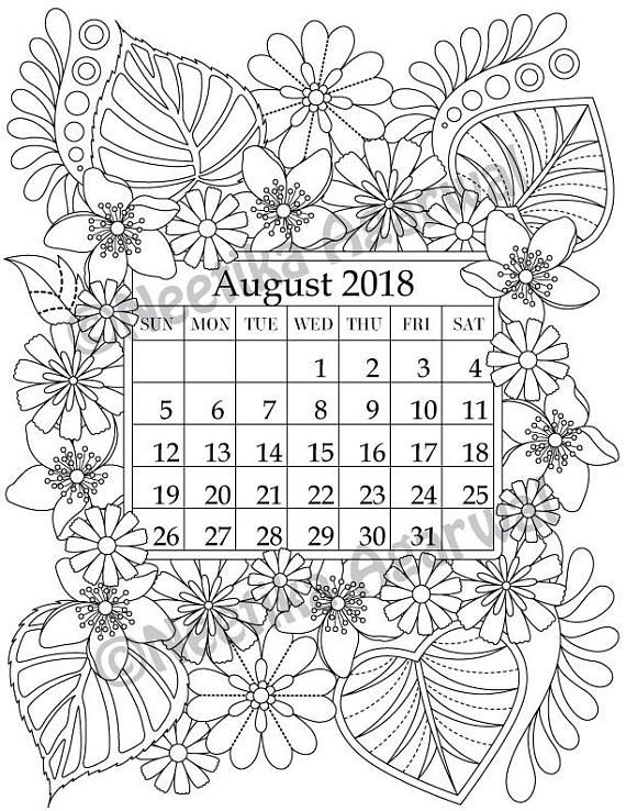 Happy With Printables Calendar November : August coloring page calender planner doodle