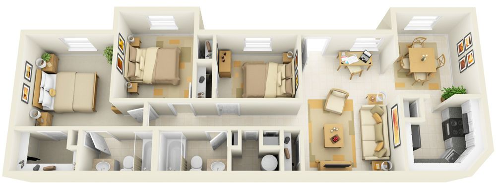 3 Bedroom Apartment Floor Plans 3d 3 bedroom - 3d floor plan for websites & downloading | bedrooms