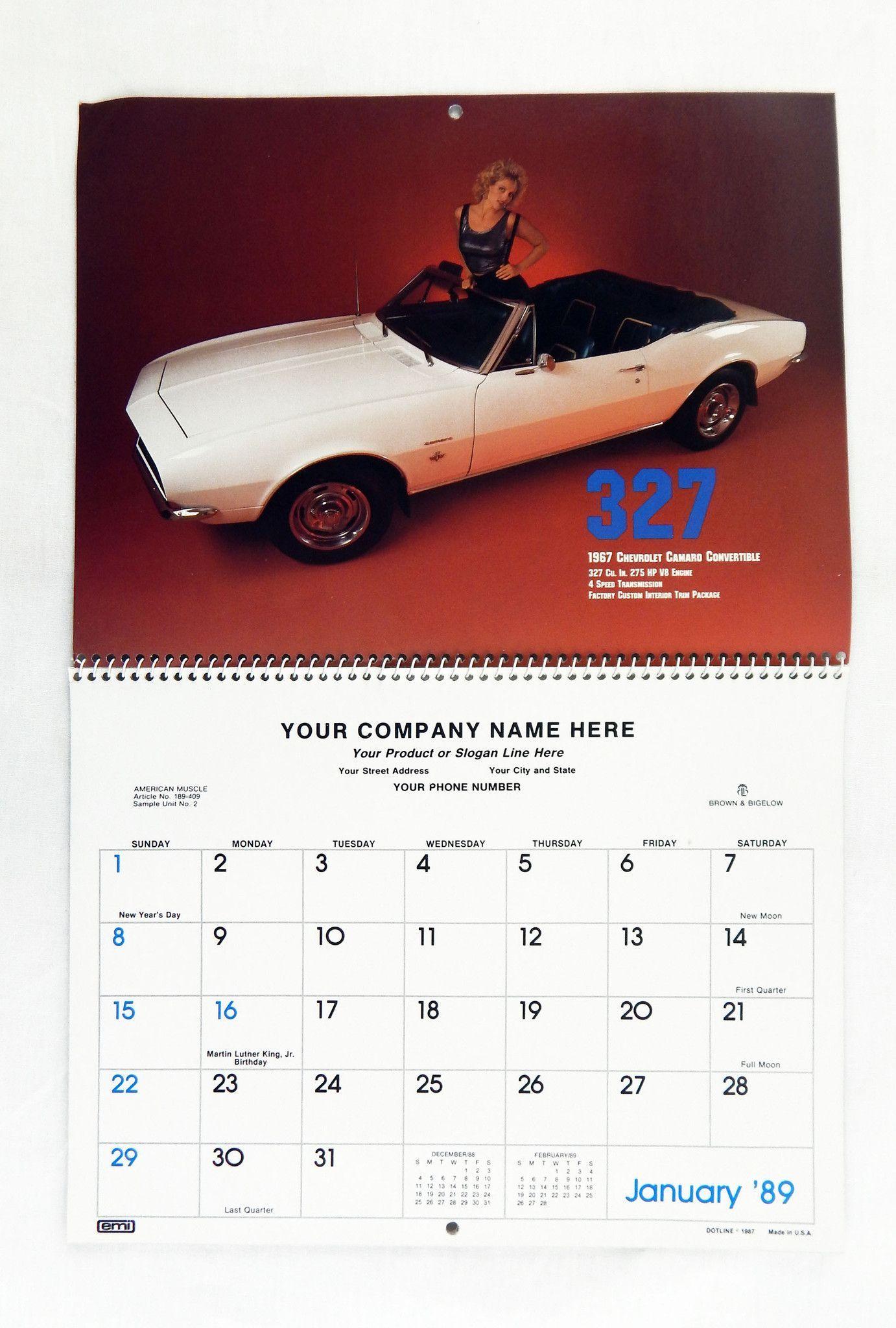 Vintage 1989 2023 American Muscle Cars Memo Calendar American