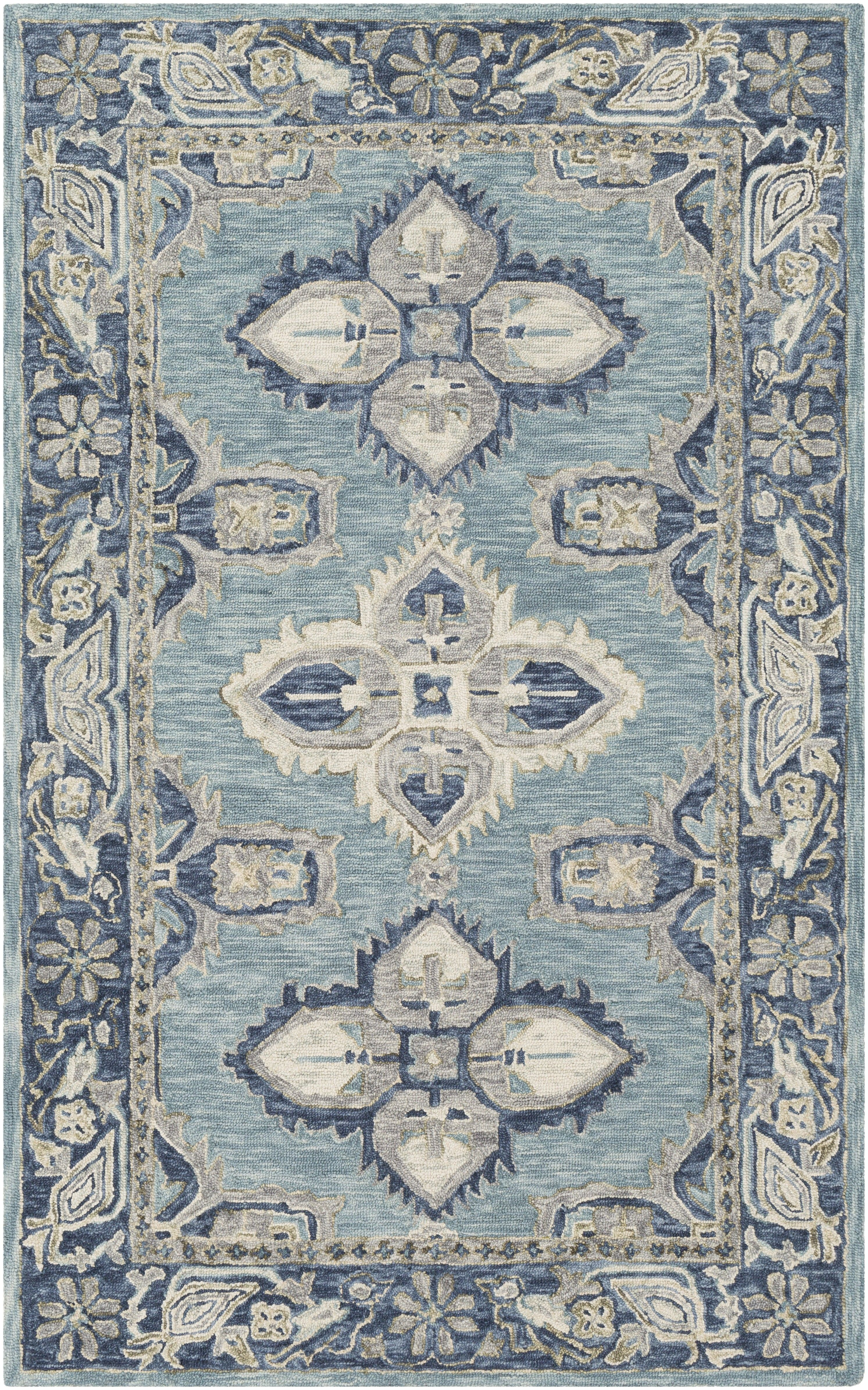 Floral Designs In Navy And Cream Drape Across An Ocean Blue Background For A Rug That Is Equal Par Wool Area Rugs Bohemian Area Rugs Blue And Cream Living Room