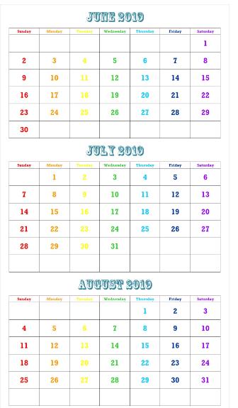 June July August 2020 Calendar Printable Template Pdf Word