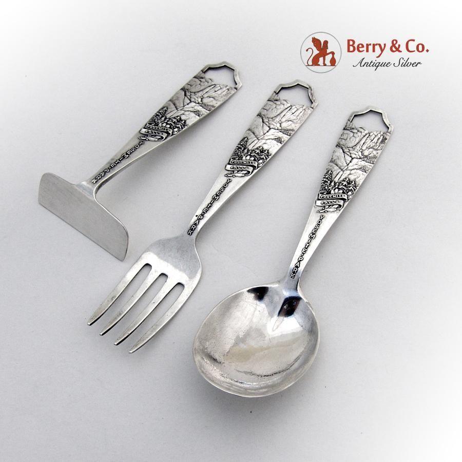 Yosemite falls baby fork spoon pusher set sterling silver for Sterling silver baby spoon and fork
