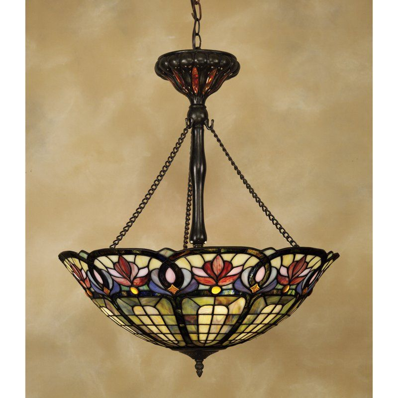 Tadler 3 Light Tiffany Inverted Pendant With Chain Tiffany Chandelier Quoizel Tiffany Lighting