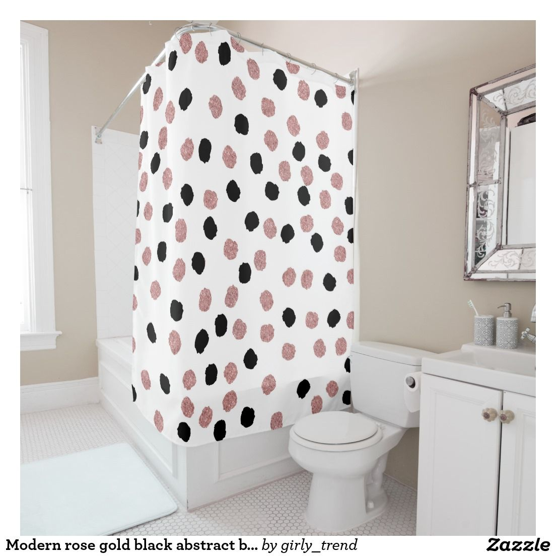 Modern Rose Gold Black Abstract Brush Polka Dots Shower Curtain Artwork Designed By Girly Trend Pric Black Confetti Curtains