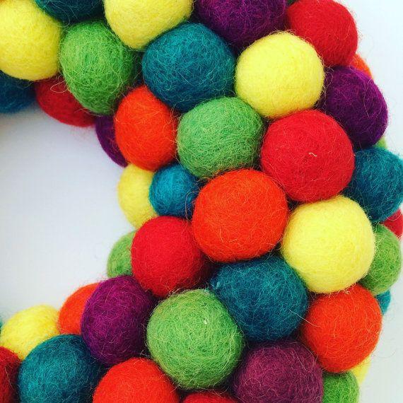 Felt ball wreath rainbow wreath door by CleverSewandSews on Etsy