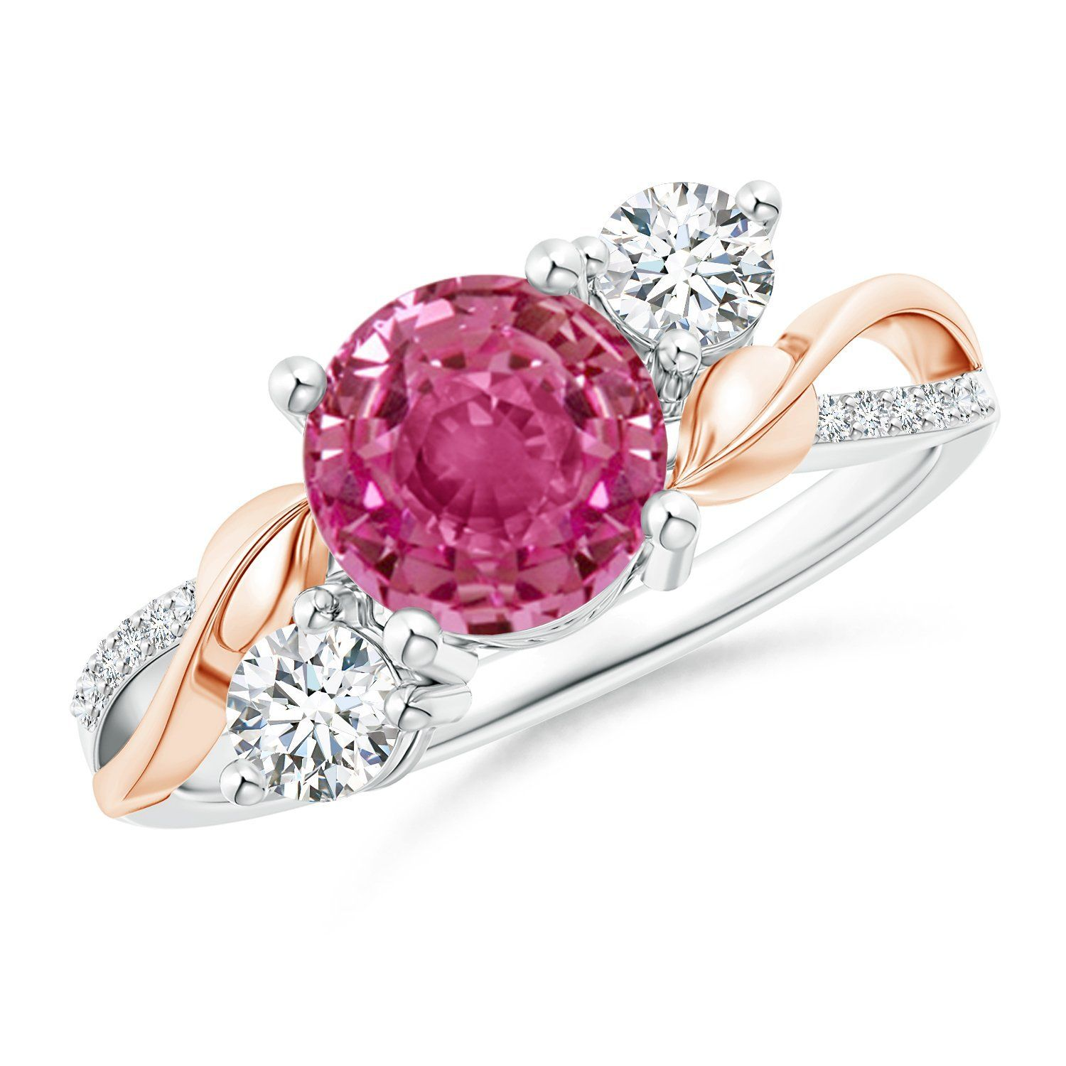 Pink Sapphire and Diamond Twisted Vine Ring in 14K White and Rose ...