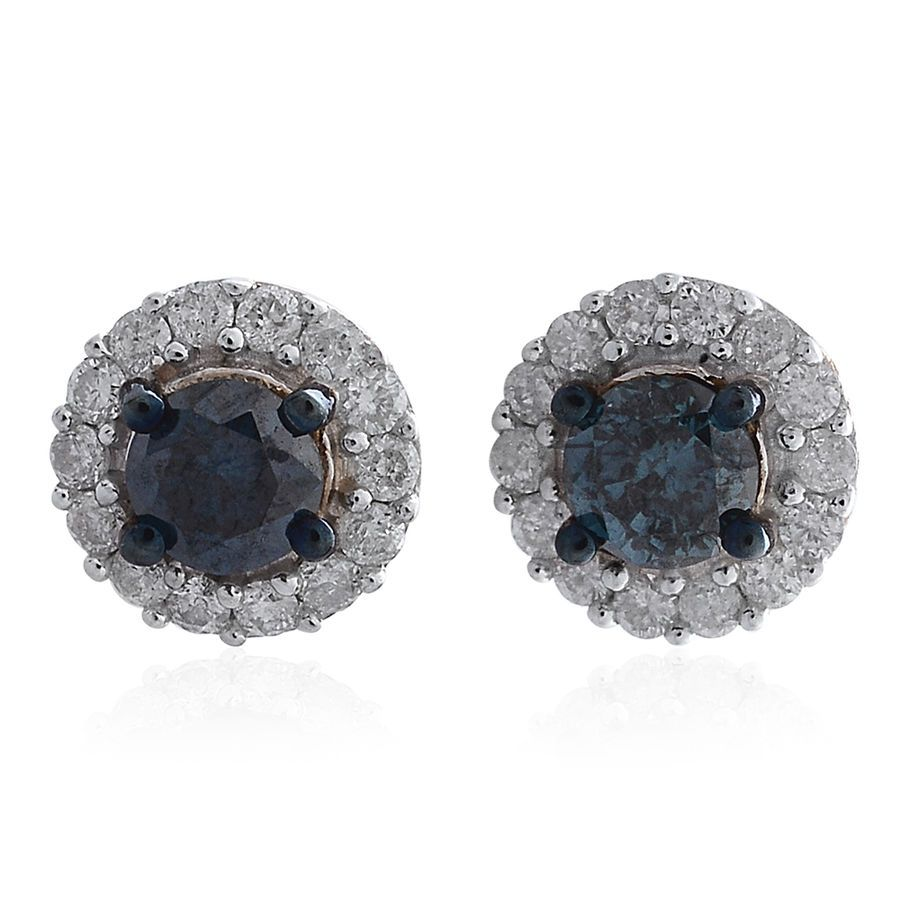 7043dee1945e9 Blue diamond Earrings 9ct Yellow Gold Stud for Women with White ...