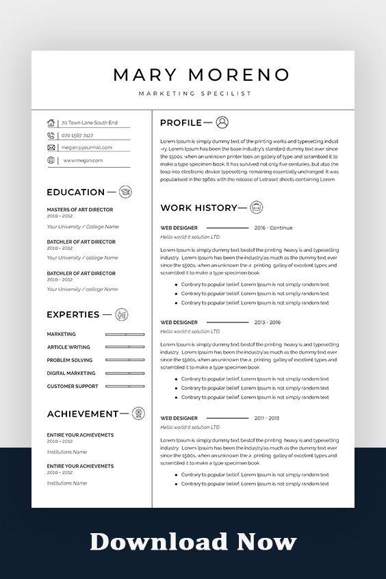 Professional Resume Template Minimalist Resume Template Creative Resume Template Cv Template Word Resume Template Resume Free Download In 2021 Minimalist Resume Template Resume Template Word Creative Resume