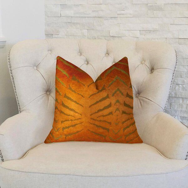Magnetism Double Sided Throw Pillow Bring warmth and happiness with this vibrant designer orange velvet accent pillow. The front fabric of this luxury decorative throw pillow originates from Italy.  #Double #Sided #Throw #Pillow