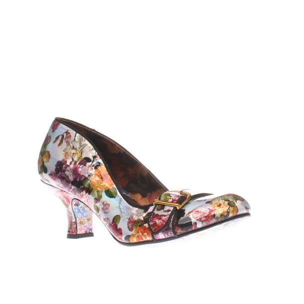Womens Silver Irregular Choice Dee Dee Delago Floral Low Heels