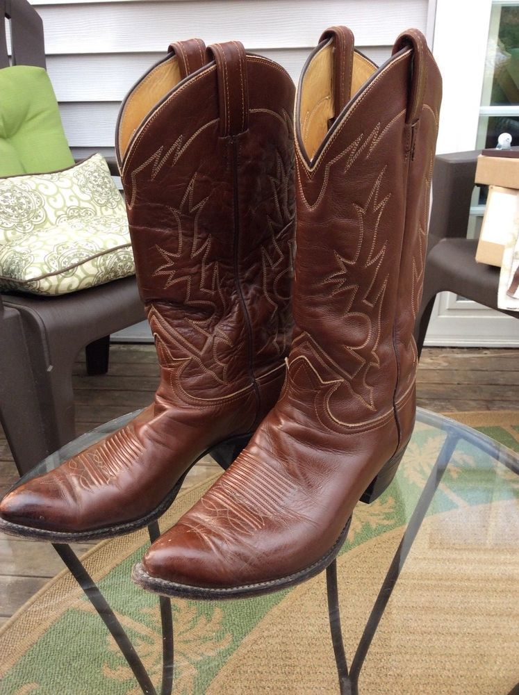 abf362f40bb Vintage Tony Lama 6284 Coffee Leather Sole Cowboy Boots 9 D #fashion ...