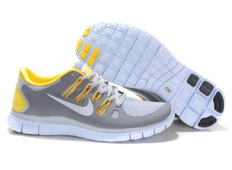 Nike Free 5.0 Men Light Gray White Yellow Running Shoes