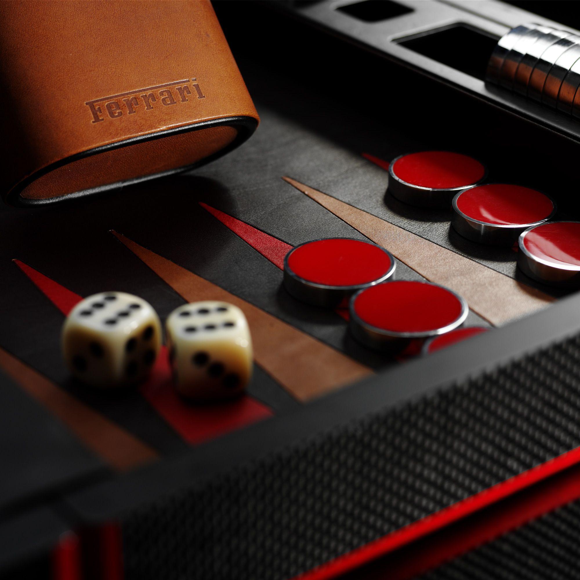 Carbon fibre backgammon set Ferrari. Would Ed play with