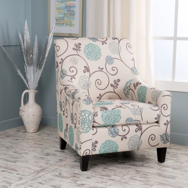 Guyon Floral Fabric Club Chair By Christopher Knight Home