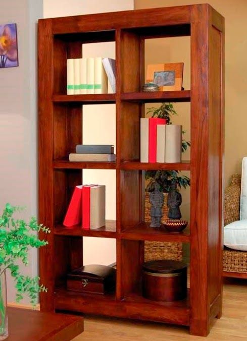 librera nuria de bamb blau para saln comedor o despacho con estantes