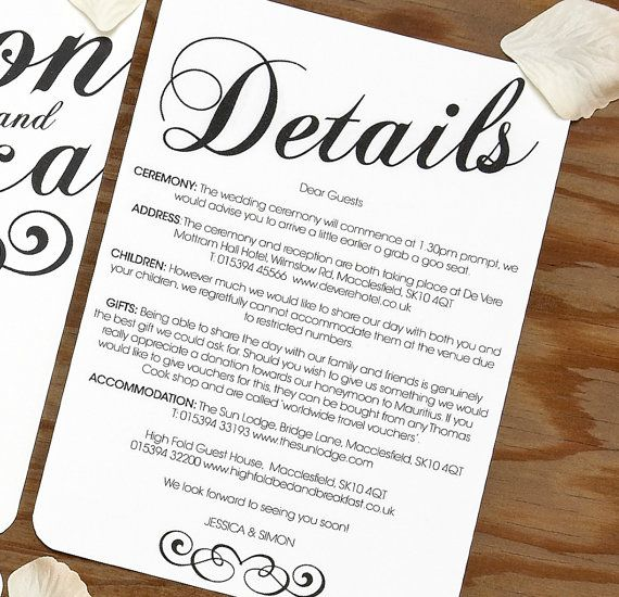 Black White Vintage Wedding Information Card