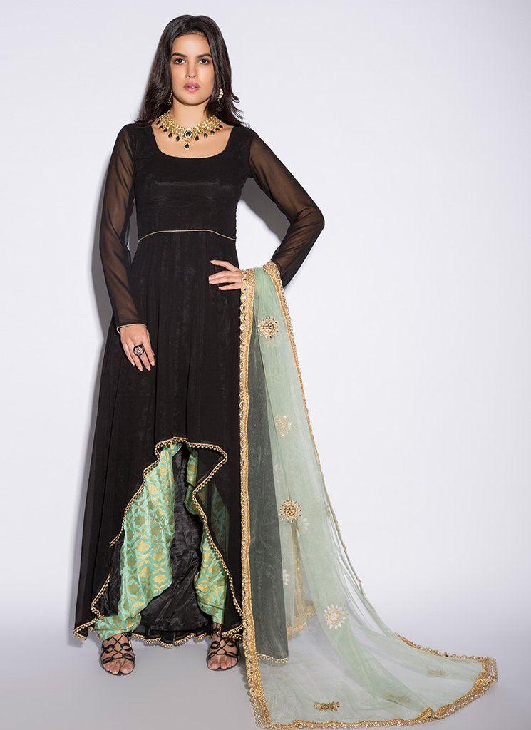 88b2945864 Black and Mint High Low Punjabi Suit | Punjabi Suits at Lashkaraa in ...