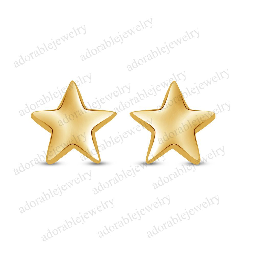 Women's Special Yellow Gold On Sterling Star Shape Stud Earrings For Daily Use #adorablejewelry #Stud