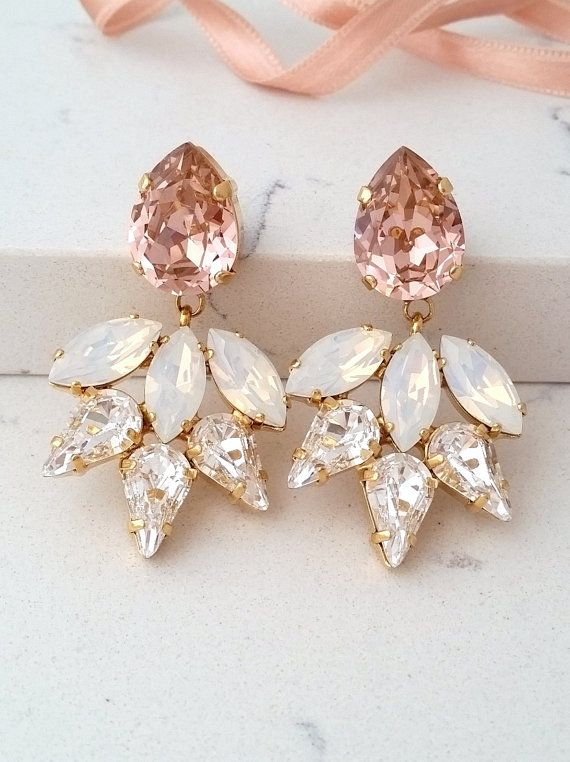 Blush Earring Bridal Chandelier Earrings White Opal Statement Swarovski Crystal Bridesmaids Gift By Eldortinajewelry