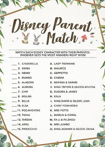 Disney Parent Match, Disney Themed Baby Shower Game, Instant Download, Printable, Baby Shower Idea, Printable Cards, Greenery, Woodland