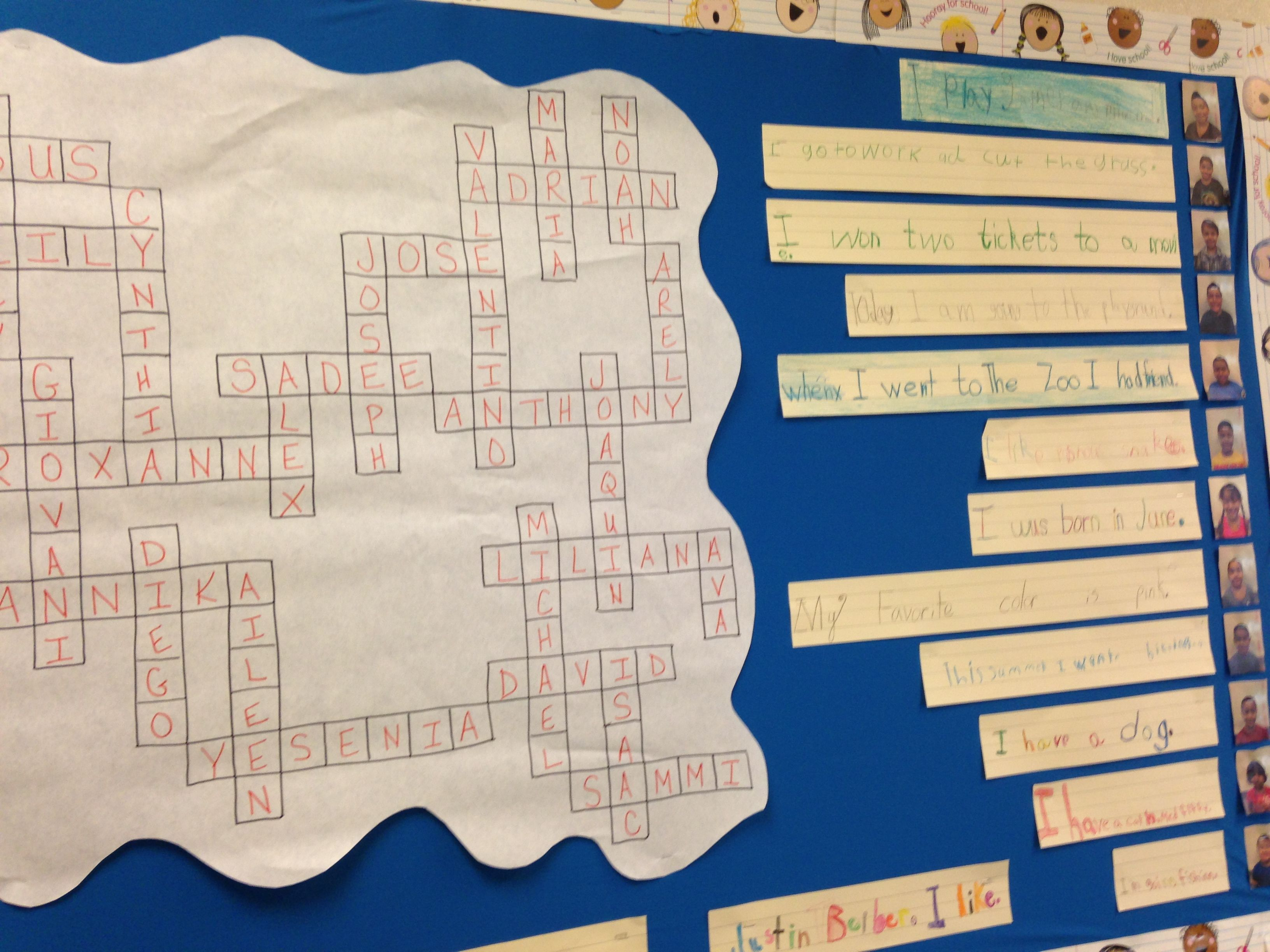 Back To School Crossword Puzzle Bulletin Board We All Fit Together Students Write A Sentence Clue Puzzle Bulletin Boards Student Writing Crossword Puzzle