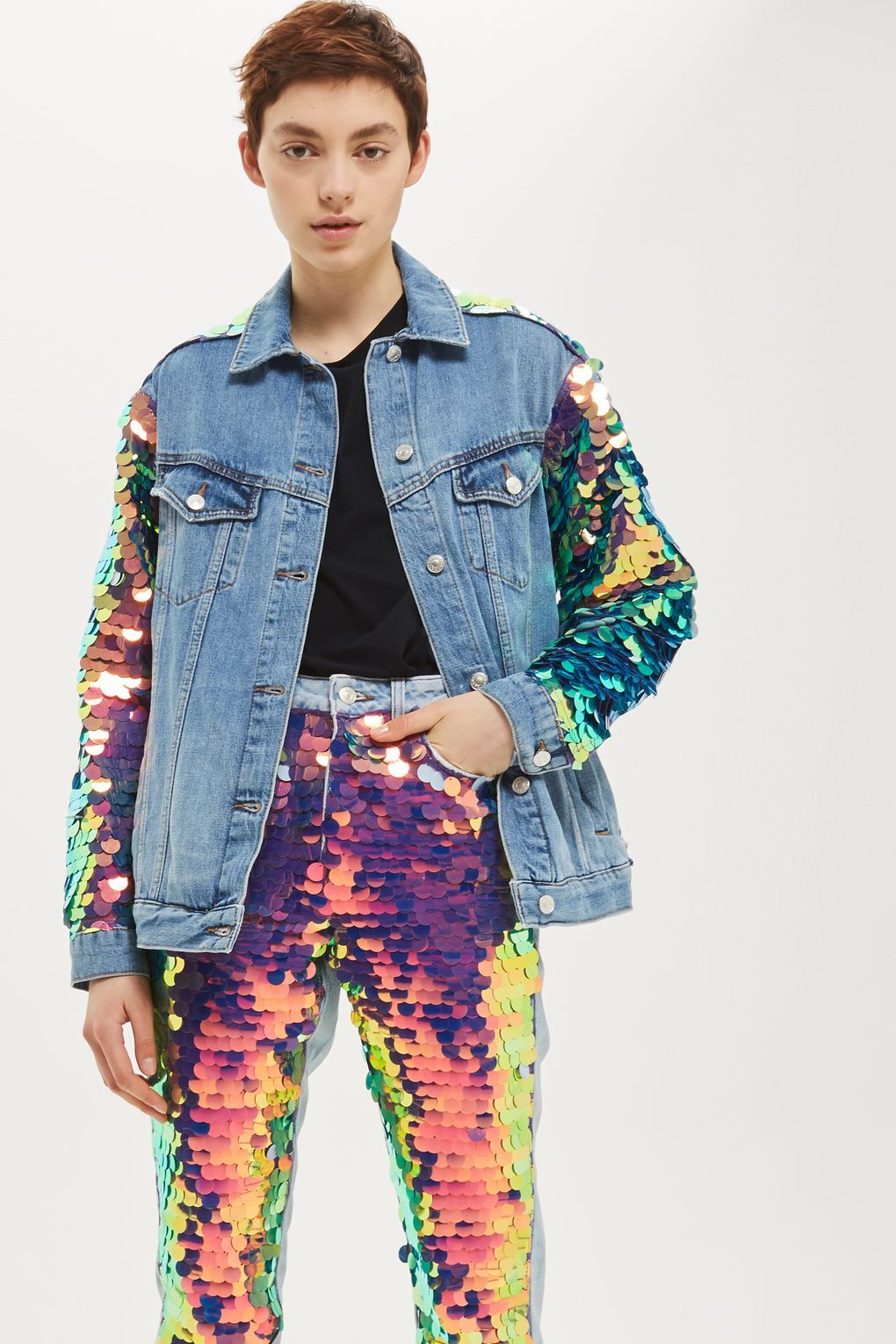 cf8a4599b MOTO Large Sequin Jacket in 2019 | NYC style | Sequin jeans, Sequin ...
