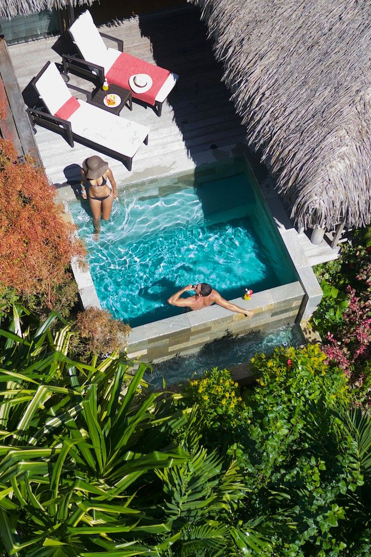 your garden pool suite at the intercontinental moorea resort features a private plunge pool. Black Bedroom Furniture Sets. Home Design Ideas