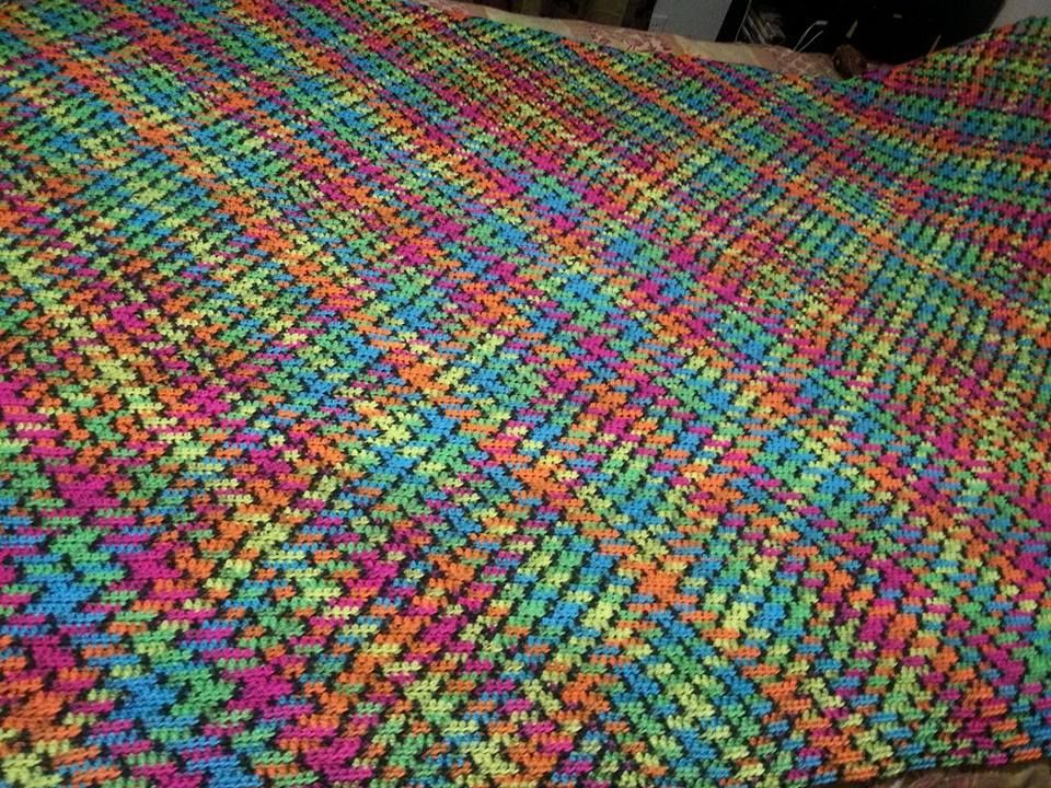 Amazing planned pooling project in Red Heart Blacklight | Crochet ...