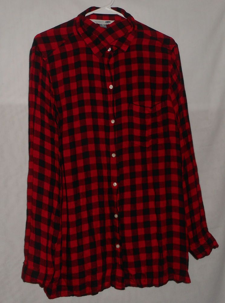 13391846 Old Navy Women's Size XL Red Black Check Button Down Shirt Long Sleeve # OldNavy #ButtonDownShirt #Casual