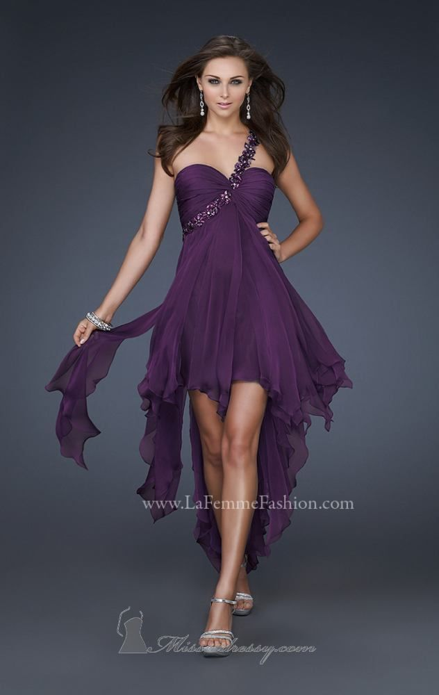 purple one strap frilly dress | vestidos color purpura | Pinterest ...
