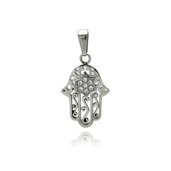 Open Filigree Hamsa Pendant with Simulated Diamond Star Of David