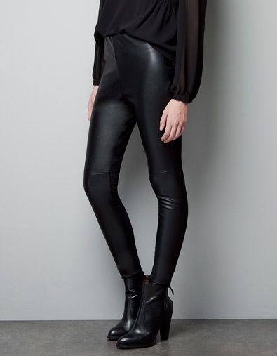 b514a612 FAUX LEATHER LEGGINGS WITH SEAM AT THE KNEE | Xmas wish list | Faux ...