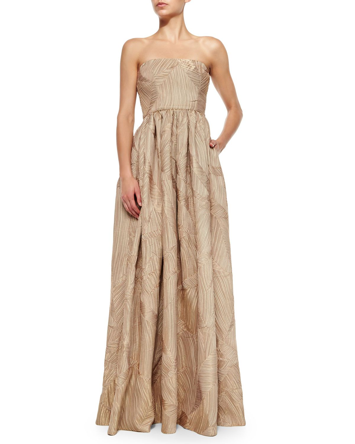 Mykel strapless shirred gown gold black halo neiman marcus