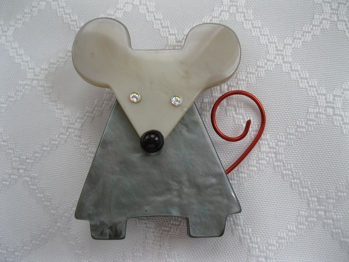 Galalith Gray Mouse Pin By French Designer Pavone