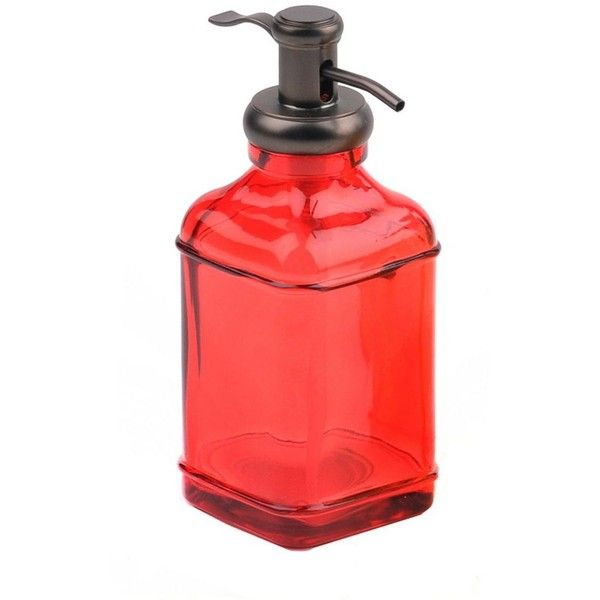 Red Glass Metal Soap Pump 9 99 Liked On Polyvore Featuring Home Bed Bath Bath Bath Accessories Glass Soap Glass Soap Dispenser Soap Pump Red Glass