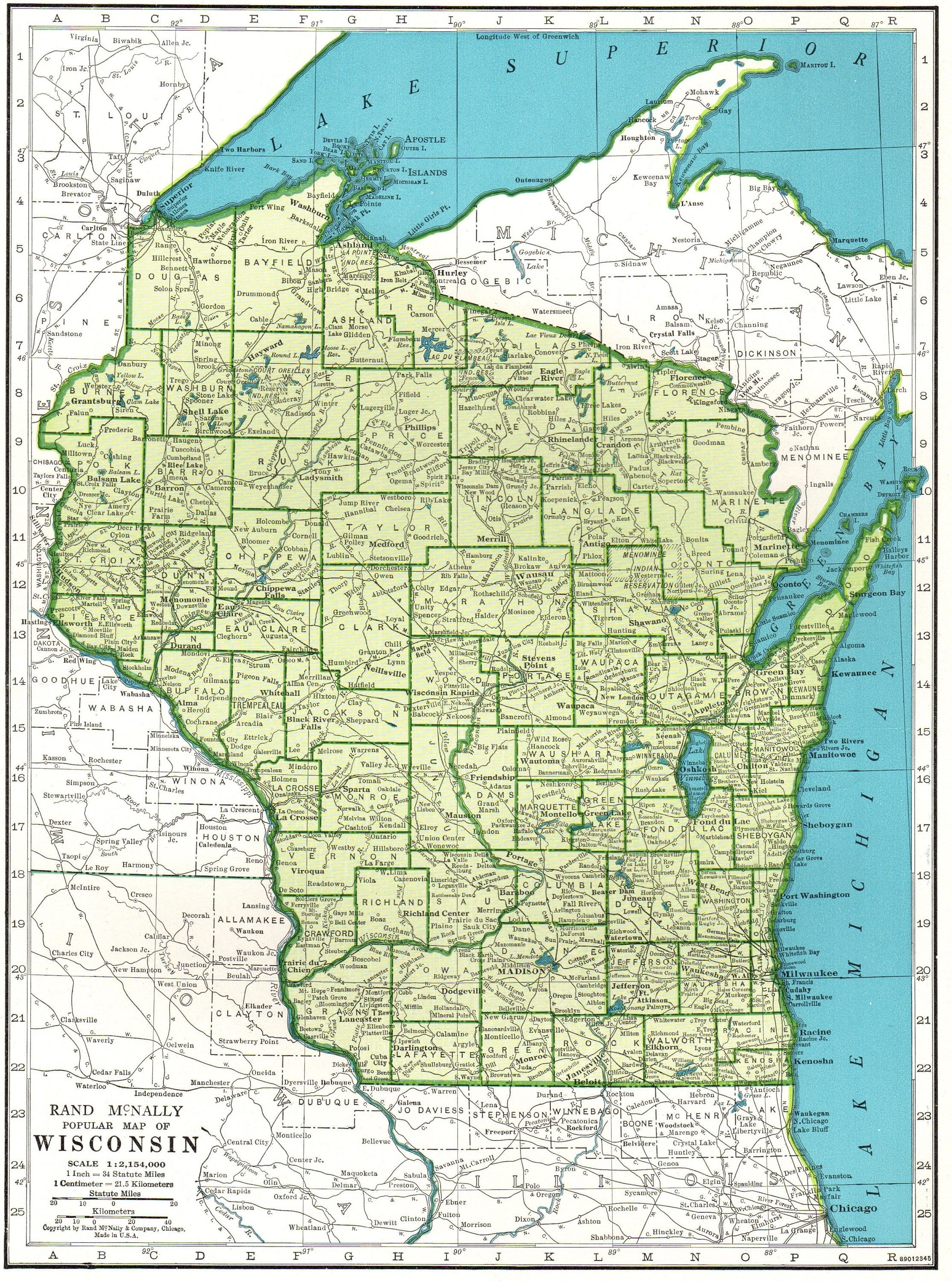 1945 Vintage WISCONSIN Map Antique Map of Wisconsin State Map