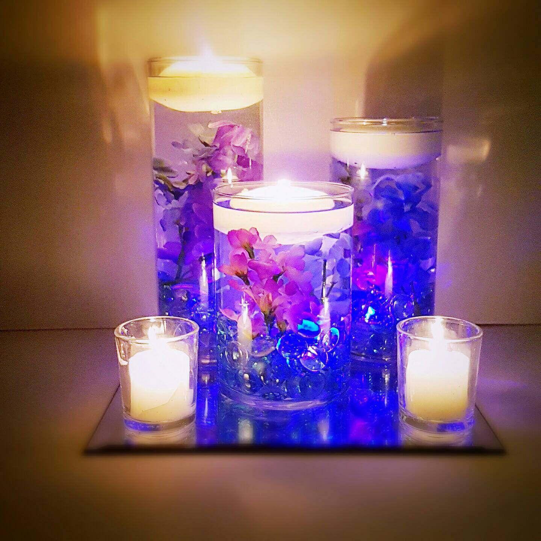 Wedding Centerpiece, Floating Candle Centerpiece, Purple