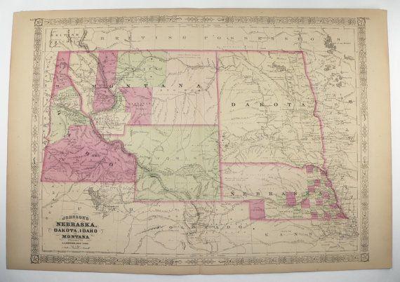 1867 Antique Map Montana Wyoming Map Nebraska Idaho Map Dakota