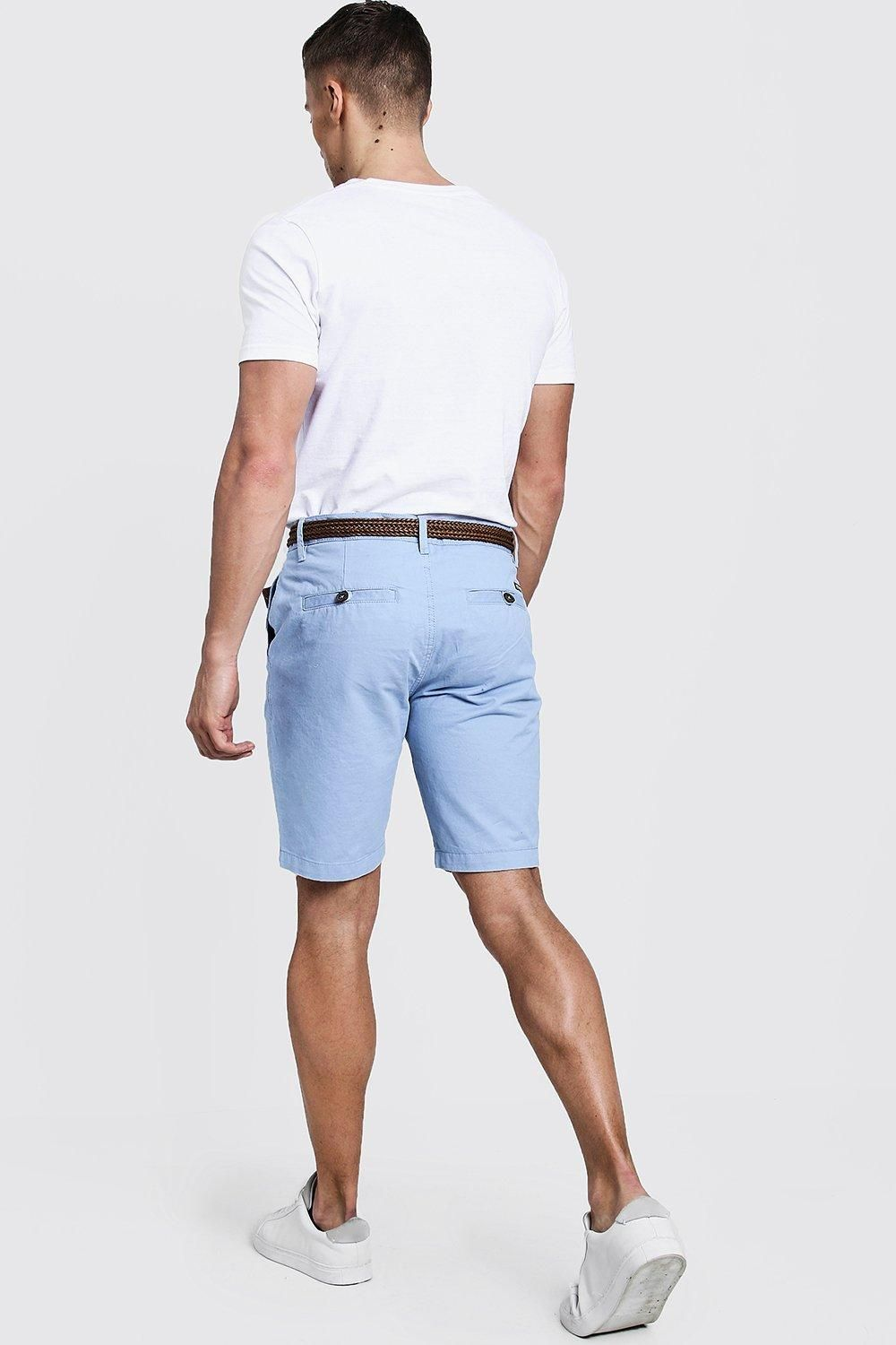 d4df8ee7c16e Slim Fit Cotton Chino Shorts With Belt in 2019 | noir | Chino shorts ...