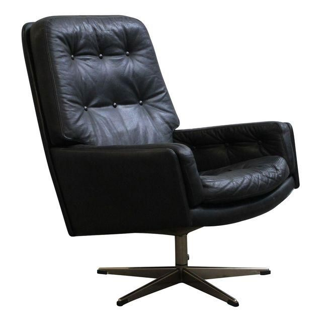 Image of Danish Tufted Leather Vintage Swivel Lounge Chair