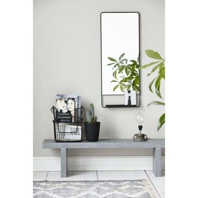 House doctor miroir mural vertical chic avec tablette et bord noir house doctor la redoute for Miroir vertical mural design