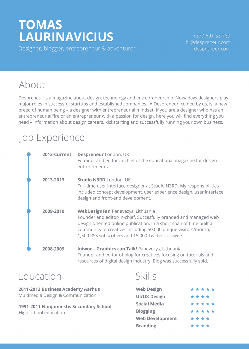 free minimal resume template - Word Resume Template 2014